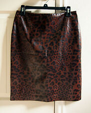 Topshop Brown Leopard Print Pencil Skirt Size 8 Knee-Length, Polyester