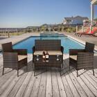 4 Pcs Patio Rattan Wicker Furniture Set Cushioned Chair Glass Table Top Garden