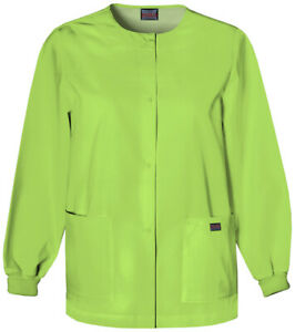 Scrubs WW Originals Snap Front Warm-Up Jacket In Lime Green Size M
