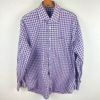 Peter Millar Mens Size 16.5 Large Button Front Long Sleeve Shirt Purple Gray Pla