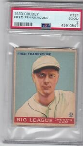 1933 Goudey Fred Frankhouse #131 Boston Braves PSA 2