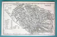 1875 MAP BAEDEKER City Plan - ITALY Cremona