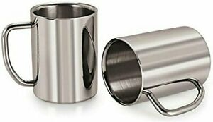 New Design Stainless Steel Tea and Coffee Cups Set of 2 300ml