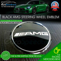 AMG Black Classic Steering Wheel Emblem Black Chrome 52mm 3D Interior Badge