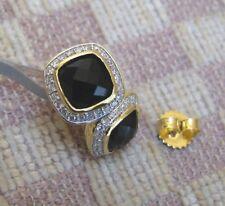 NEW DAVID YURMAN 18KT YELLOW GOLD ALBION EARRINGS ONYX & DIAMONDS (retail $2500)