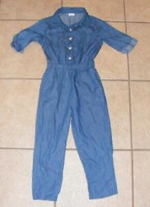 Blue Denim Girls Small 4 / 5 School or Play 1 Pc Lightweight Jumpsuit Outfit