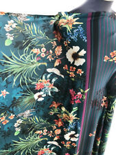 Stripe & Floral/Flower Tropical & Botanical Stretch Jersey Dressmaking Fabric