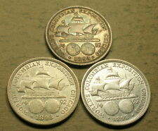 New listing 1892 and 1893 Columbian Commemorative Half Dollars-3 Coins