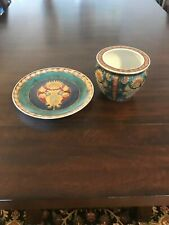 Decorative Oriental Accent Blue and Green Dish and Bowl