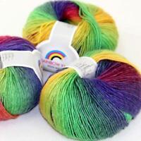 AIP Soft Cashmere Wool Colorful Rainbow Wrap Shawl DIY Hand Knit Yarn 50grx3 12