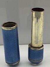Rare!! Art Deco Hallmarked Solid Silver Gilt & Guilloche Enamel Lipstick Holder