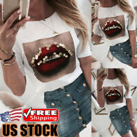 Women's Lip Printed Long Sleeve Blouse Tops Ladies Loose Casual Pullover T-shirt