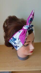 HEAD SCARF HAIR BAND WHITE Purple pink magenta FLOWER TIE ROCKABILLY PIN UP