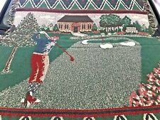 Woven Cotton Throw Blanket 4ft x 6ft - golfer motif - Super Comfy