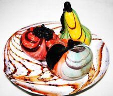 piatto fenice policromo con frutta D 25 cm by Sandro Frattin,firmato datato 1985