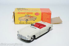 DINKY TOYS 113 MGB M.G.B. SPORTS CAR CREAM EXCELLENT BOXED