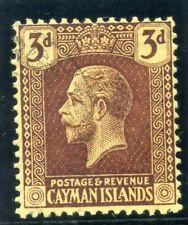 Cayman Islands 1921 KGV 3d purple/pale yellow very fine used. SG 60b.