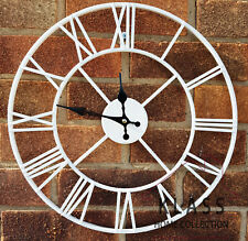 LARGE OUTDOOR GARDEN WALL CLOCK BIG ROMAN NUMERALS GIANT OPEN FACE METAL 40CM.