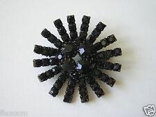 Schwarze Strass Brosche Modeschmuck Ø 4,0 cm / 9,6 g