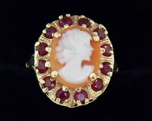 Vintage 10k 3.2 Hand Carved Shell Cameo and Ruby Ring Size 8