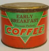 Rare Old Vintage 1930s EARLY BREAKFAST COFFEE TIN 1 POUND KIRKSVILLE MISSOURI MO