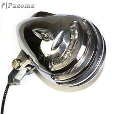 "Vintage Motorcycle 4.5"" Aluminum Polish Headlight Bullet Headlamp High Low Beam"