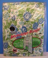 Vintage Maytex Mills Blue Floral 3 Piece Decorator Drape Plastic Curtains, White