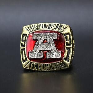 Jim Kelly - 1991 Buffalo Bills AFC Championship Super Bowl Ring With Wooden Box
