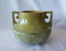 Old Fulper Green Pottery Corseted Vase Chinese Form w Two Angular Handles
