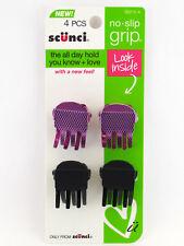 SCUNCI NO SLIP GRIP METAL CLAW HAIR CLIPS - 4 PCS.(39212-A)