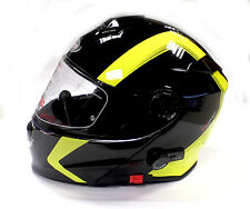 Viper Rs-v171 Spline Bluetooth Flip up Motorcycle Helmet Black Yellow Pinlock XS