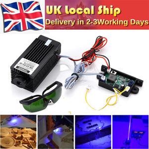 DIY Analog PWM 5.5W 5500mW 450nm Blue Laser Module Engraver Machine + Goggles