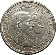 1922 Denmark King CHRISTIAN X & Queen Alexandrine Silver Coin Wedding i45546