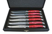 LAGUIOLE by Louis Thiers Steak Knife Set - Marbled Red in Box - RRP $129