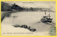 cpa TOULON (Var) La Seyne sur Mer PLAGE des TAMARIS Les Sablettes Bateau Vapeur