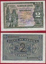 ESPAÑA 2 PESETAS año 1938. Serie H. Nº 3808668. Catedral de Burgos. PLANCHA.
