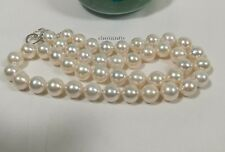 Genuine silver 10-11mm circle 4A freshwater pearls necklace L53cm free earring