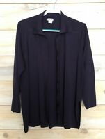 EXCLUSIVELY MISOOK Navy Open Front Cardigan Sweater Size Medium Career Business