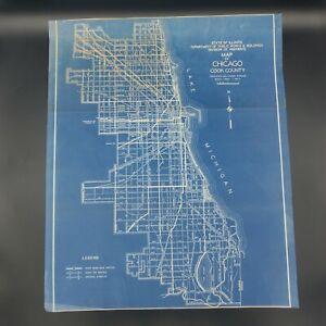 "Vintage 1930 Chicago Cook County Map Public Works Original Highways Div 22""x26"""