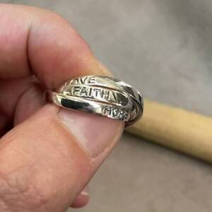 925 Sterling Silver Ladies Russian Wedding Band Ring Love Hope Faith Band Ring