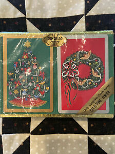 New Vintage Congress Playing Cards Double Deck Christmas Tree And Wreath Sealed