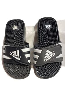 Adidas Voloossage Youth New Black And White Massage Slides Size 3/34
