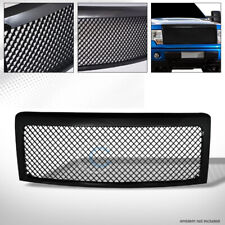 Fits 09-14 Ford F150 Glossy Black Mesh Front Hood Bumper Grill Grille Guard ABS