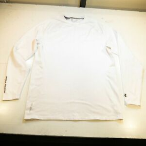 UNDER ARMOUR GOLF COLDGEAR FITTED ATHLETIC LONG SLEEVE TEE T SHIRT Mens L White