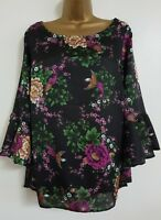 NEW Size 16 18 20 22 24 Bird Print Fluted Sleeve Black Floral Tunic Top Blouse