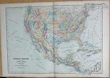 1890 LARGE VICTORIAN MAP - UNITED STATES, MEXICO, CENTRAL AMERICA