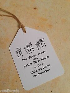 """Wedding Favour Luggage Tags Labels - """"Let Love Grow"""" Seeds Favours"""