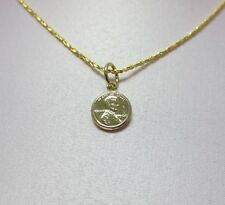 18 INCH 14KT GOLD EP 1mm SPARKLING TWISTED COBRA  CHAIN w/ MINI LUCKY PENNY