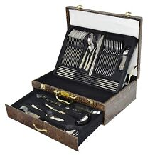 NEW 86 PC GOLD CUTLERY SET 18/10 STAINLESS STEEL TABLE CANTEEN GIFT CHRISTMAS