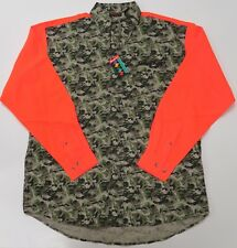 Snap-on Camo Hunting Long Sleeve Button Front Shirt Mens XL New Green Orange